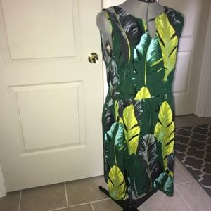 LARA   Tropical Leaf Print Dress